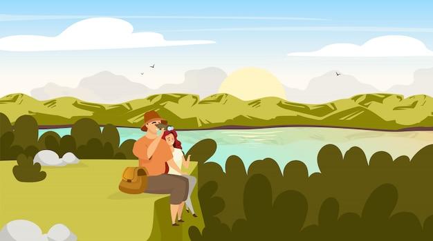 Backpacker para ilustracja płaskie. turystów na zielonym wzgórzu. mężczyzna z lornetką, kobieta na halnym szczycie. wschód słońca nad strumieniem rzeki. panoramiczna scena krajobrazowa. postaci z kreskówek grupy turystycznej