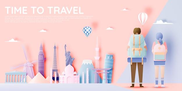 Backpacker z różnymi atrakcjami turystycznymi