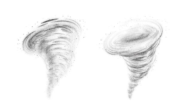 Bączek tornado zestaw ilustracji na białym tle