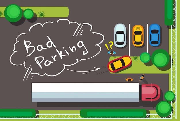 Bad city parking blocking cars concept widok z góry