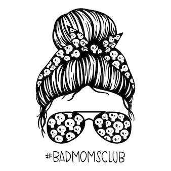 Bad moms club kobiety z chustką w okularach pilotki i nadrukiem czaszki messy bun mom lifestyle