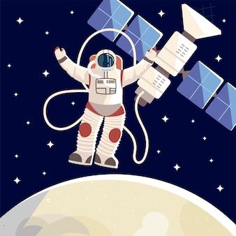 Badacz kosmosu, astronauta, satelita, księżycowa ilustracja wszechświata