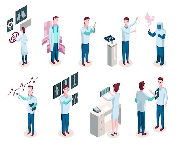 Badacze medycyny izometrycznej. medycyna, lekarz, badania laboratoryjne i przemysł farmaceutyczny na białym tle ikony. pakiet elementów izometrycznych. zestaw ilustracji wektorowych izometryczny z postaciami ludzi.