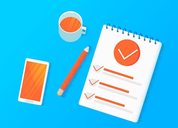 Badania ankietowe. dokonaj wyboru na tablecie. szablony listy kontrolnej.
