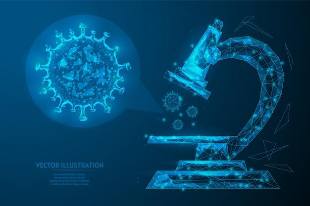 Badania, badanie infekcji wirusowej koronawirusa covid-19 pod mikroskopem. sprzęt laboratoryjny. robienie leku. innowacyjna technologia. 3d model szkieletowy low poly ilustracja.