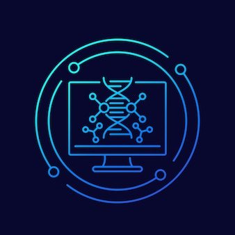 Badania dna i genetyka wektor linii ikona
