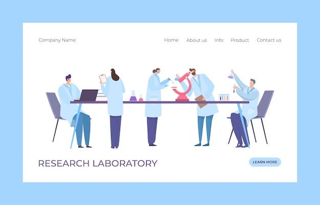 Badania genetyczne kliniki koncepcji laboratorium lądowania ilustracji. strona internetowa laboratorium dna. mężczyzna i kobieta w płaszczu medycznym