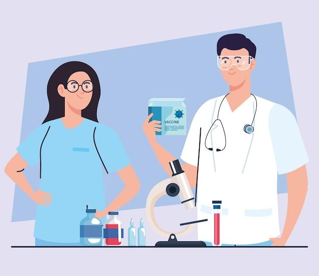 Badania nad szczepionkami medycznymi, para lekarzy z wyposażeniem laboratoryjnym w opracowywaniu szczepionki przeciwko koronawirusowi covid19.