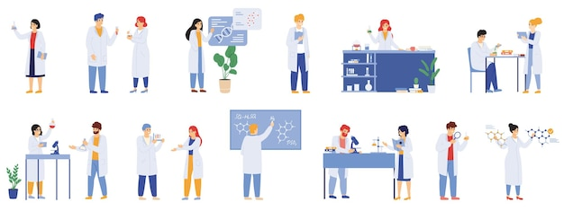 Badania naukowe. laboratorium naukowe pracowników płci męskiej i żeńskiej, biolodzy, chemicy i naukowiec badacze laboratoryjni wektor zestaw ilustracji. pracownicy medyczni