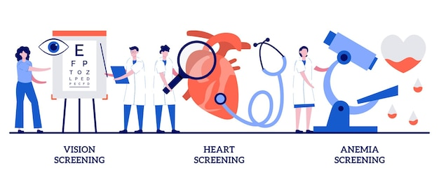 Badania przesiewowe wzroku, badania przesiewowe serca, koncepcja badań przesiewowych niedokrwistości u małych ludzi. diagnostyka stanu zdrowia streszczenie wektor zestaw ilustracji. laboratoryjna analiza krwi, metafora badań laboratorium medycznego.