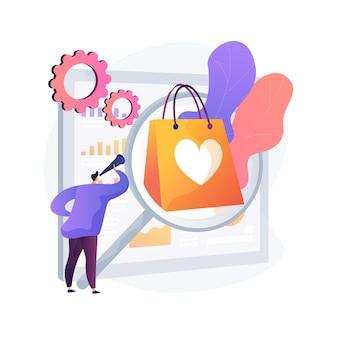 Badania rynku bada abstrakcyjne pojęcie ilustracji wektorowych. poznaj nowy segment rynku, testy produktów, badania potrzeb klientów, badania zarządzania marką, płatną abstrakcyjną metaforę grup fokusowych.
