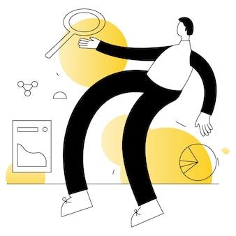 Badania rynku biznes wektory ilustracja płaska linia