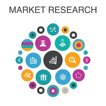 Badania rynku koncepcja koło plansza. strategia elementów inteligentnego interfejsu użytkownika, dochodzenie, ankieta, klient