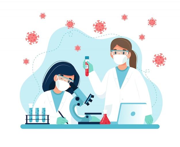 Badania szczepionek, naukowcy prowadzący eksperymenty w laboratorium.