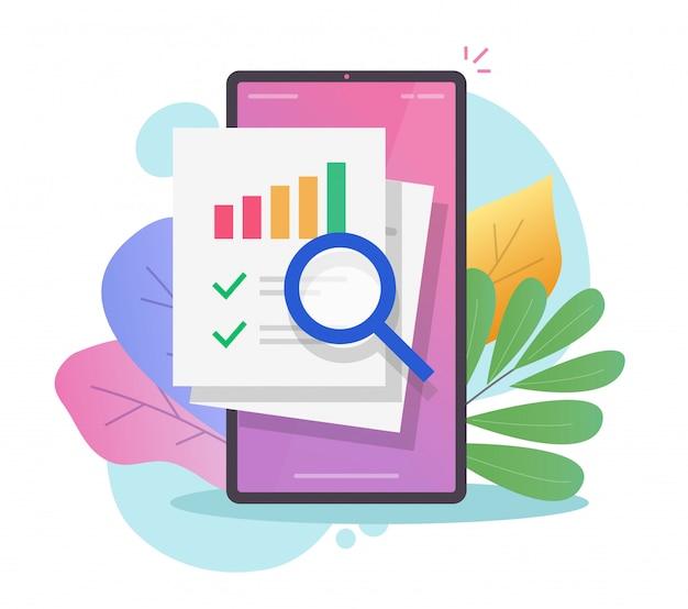 Badanie danych finansowych audyt sprzedaży w raporcie telefonu komórkowego online lub analiza informacji statystycznych na smartfonie