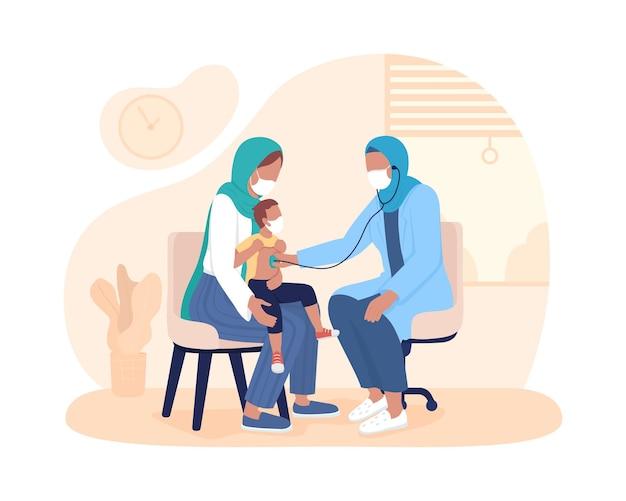 Badanie dziecka z rodzicem 2d na białym tle ilustracji wektorowych