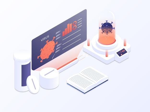 Badanie epidemii wirusa w laboratorium dla szczepionki 3d ilustracja wektorowa ilustracja