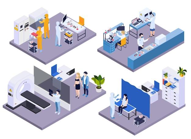 Badanie krwi i płuc chorego pacjenta z wykorzystaniem analizy laboratoryjnej, tomografii komputerowej i radiografii ilustracji izometrycznych kompozycji