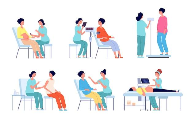 Badanie lekarskie kobiety w ciąży. poradnia ciążowa, lekarz usg brzucha. na białym tle badanie prenatalne kobiety w szpitalu wektor zestaw. medyczna kobieta w ciąży, lekarz sprawdza ciążę ilustracja