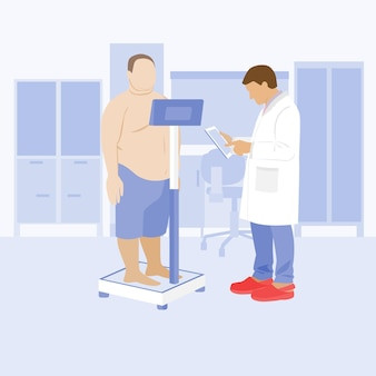 Badanie lekarskie pacjenta w szpitalu lekarz i pacjent w poradni otyłość