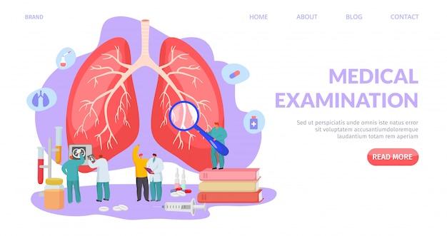 Badanie lekarskie płuc, lądowanie ilustracji. diagnostyka i leczenie układu oddechowego, profesjonalna opieka zdrowotna.