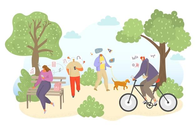 Badanie na świeżym powietrzu online, ilustracji wektorowych. płascy ludzie mężczyzna kobieta charakter uzyskać edukację w internecie, studiując wiedzę w parku. osoba używa smartfona, słuchawek do szkolnego treningu w przyrodzie.