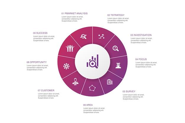 Badanie rynku infografika 10 kroków koło design.strategia, dochodzenie, ankieta, proste ikony klienta