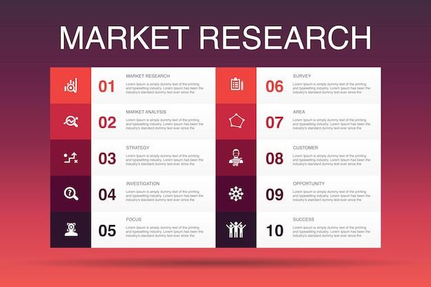 Badanie rynku infografika 10 szablon opcji.strategia, dochodzenie, ankieta, proste ikony klienta