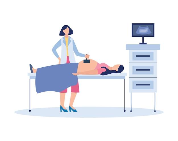 Badanie ultrasonograficzne kobiety ciężarnej - lekarza za pomocą aparatu do obrazowania ultradźwiękowego płodu oraz sprzętu do skanowania brzucha pacjenta z dzieckiem. ilustracja na białym tle.