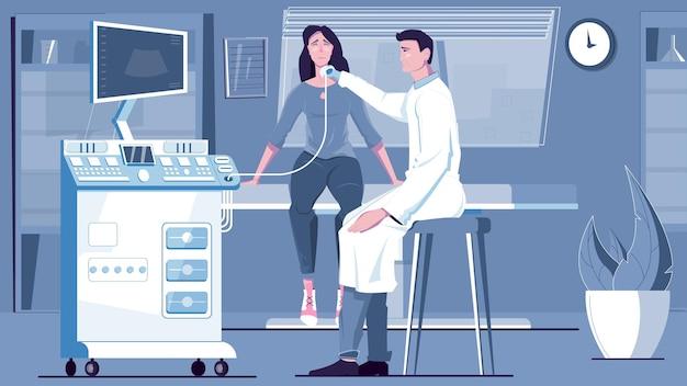 Badanie ultrasonograficzne płaskiej kompozycji ze scenerią kliniczną i aparaturą medyczną do ultrasonografii z postaciami ilustracji ludzi