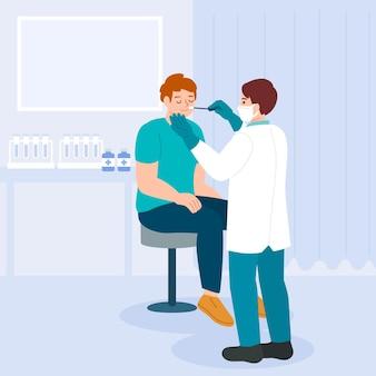 Badanie wymazu z nosa siedzącego pacjenta