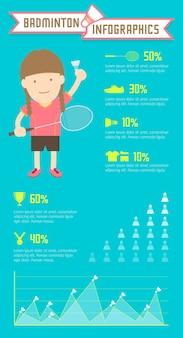 Badminton infographics kobiety gracz na zielonym tle