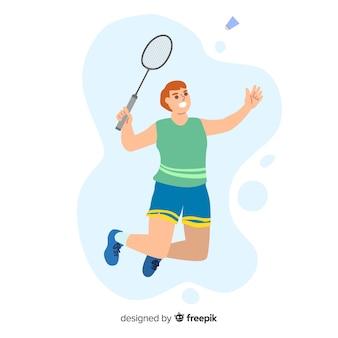 Badmintonista z rakietą i piórkiem