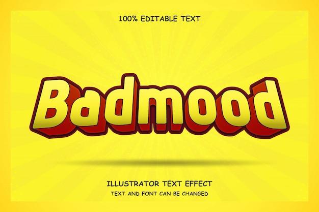 Badmood, edytowalny tekst 3d efekt nowoczesnego stylu komiksowego cienia