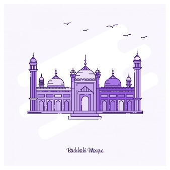 Badshahi mosque landmark purple dotted line skyline