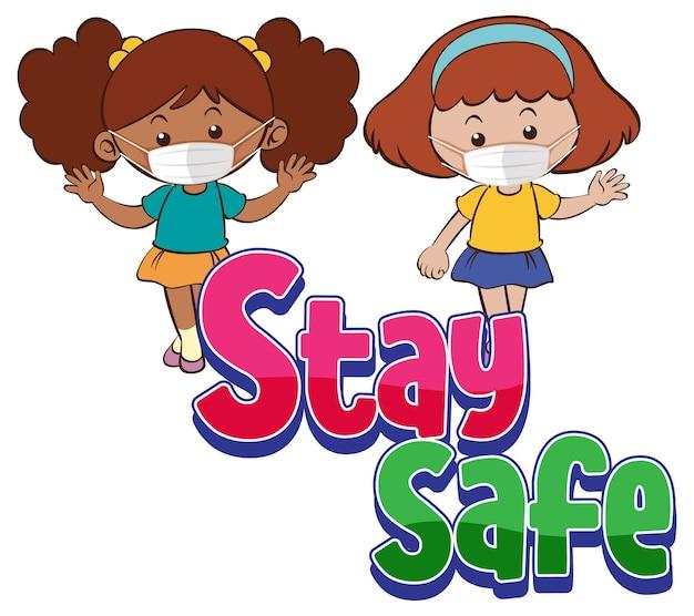 Bądź bezpieczna czcionka z dwiema dziewczynami noszącymi maskę na białym tle