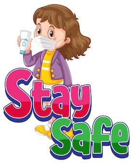 Bądź bezpieczna czcionka z dziewczyną noszącą postać z kreskówek w masce na białym tle