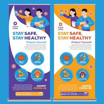 Bądź bezpieczny i zachowaj zdrowie szablon wydruku plakatu w stylu płaskiej konstrukcji
