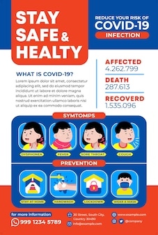 Bądź bezpieczny i zdrowy plakat w stylu płaskiej konstrukcji