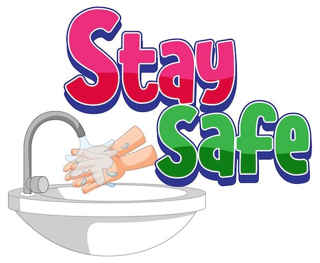 Bądź bezpieczny ilustracja z myciem rąk wodą z kranu na białym on