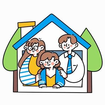 Bądź bezpieczny od domu doodle ilustracja zasób