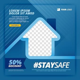 Bądź bezpieczny plakat do pracy z kampanii domowych