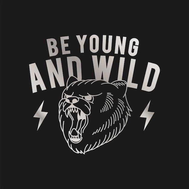 Bądź młody i dziki wektor logo