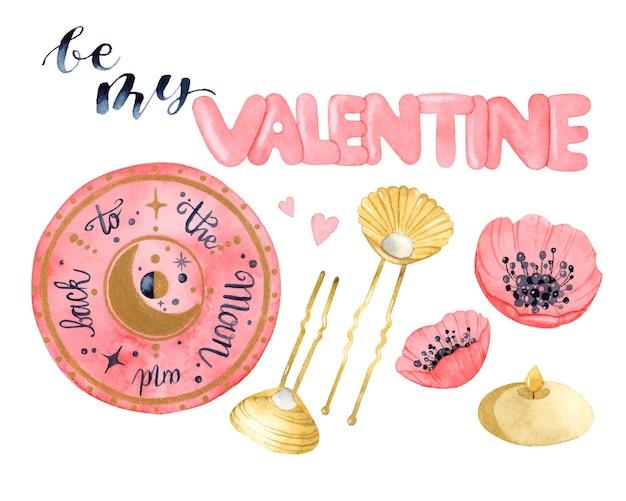 Bądź moim valentine zestaw magicznych elementów akwarela na białym tle