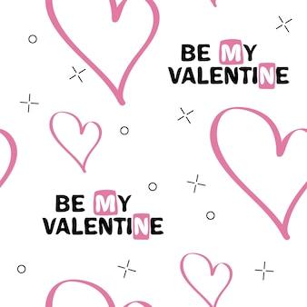 Bądź moją walentynką. oryginalny napis odręczny. projekt typografii na romantyczne karty lub zaproszenia na walentynki z niezwykłym wzorem na tle. ilustracja wektorowa.