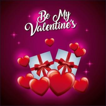 Bądź moją walentynkową miłością, którą obchodzisz w pudełku na prezent