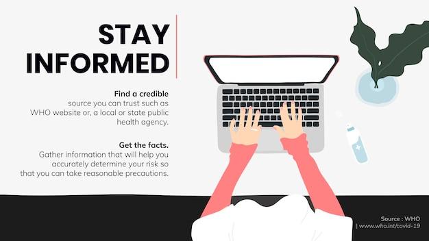 Bądź na bieżąco i otrzymuj fakty podczas epidemii koronawirusa szablon społecznościowy źródło who wektor