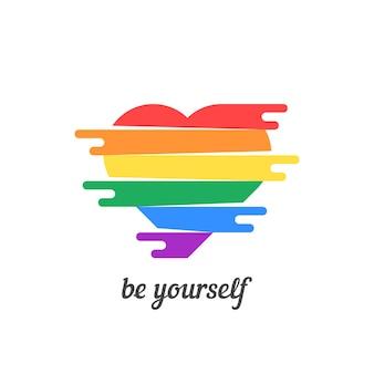 Bądź sobą z kolorowym sercem. koncepcja nietradycyjnych, szczęśliwych walentynek, stylu życia, płci, małżeństwa. na białym tle. płaski trend nowoczesny projekt logo ilustracja wektorowa
