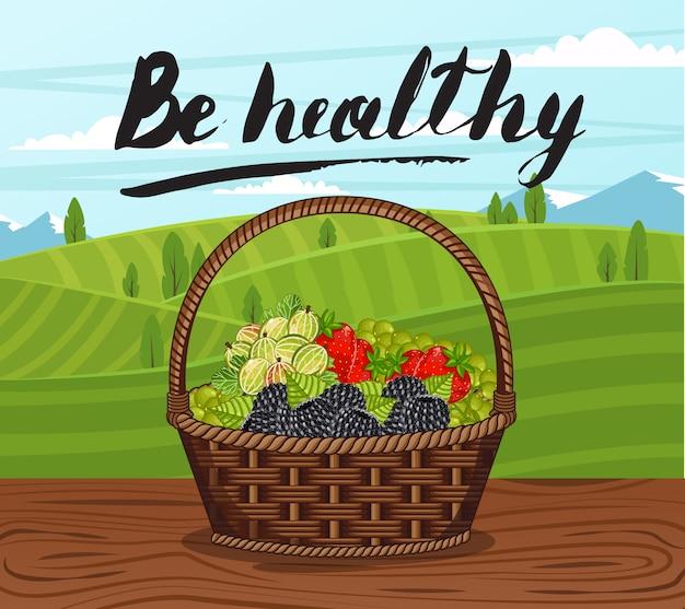 Bądź zdrowy sztandar z koszem pełnym jagód