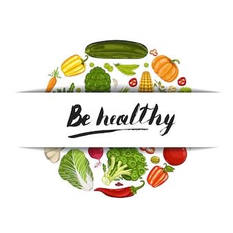 Bądź zdrowy sztandar z warzywami